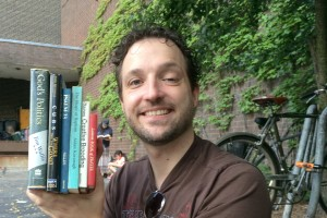 Matt Maldre with his books from the Newberry Library, 2014