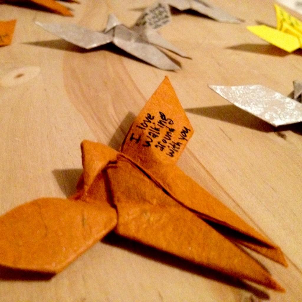 Notes written on each butterfly