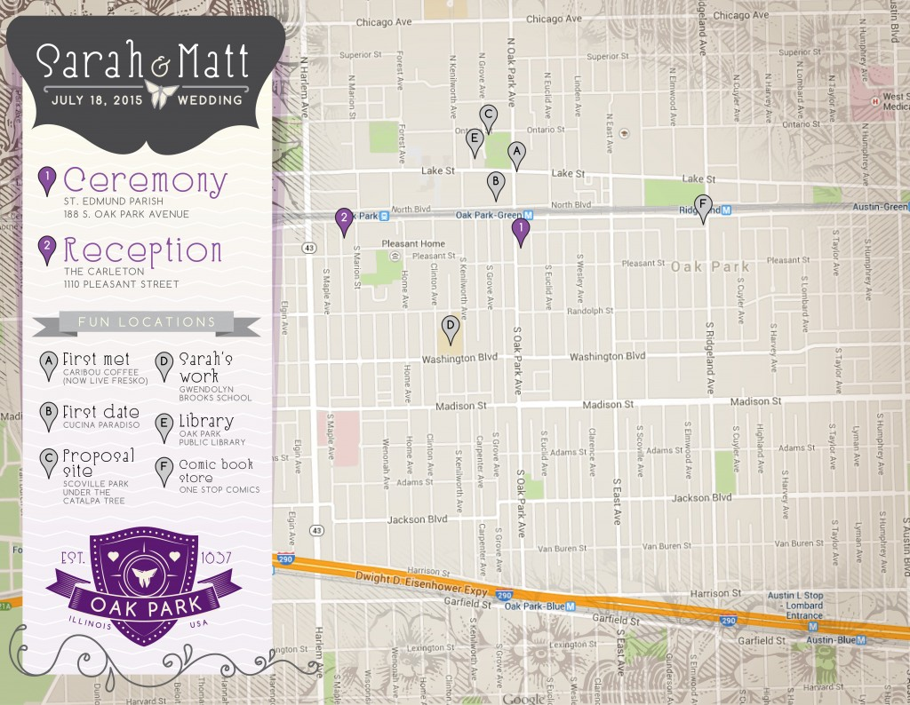Oak Park 2015 wedding map
