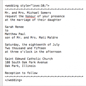Wedding invite in coding program, TextWrangler