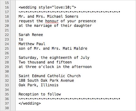 Wedding invite in coding program, TextWrangler